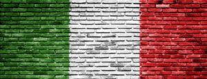 Italian Flag Painted on Brick